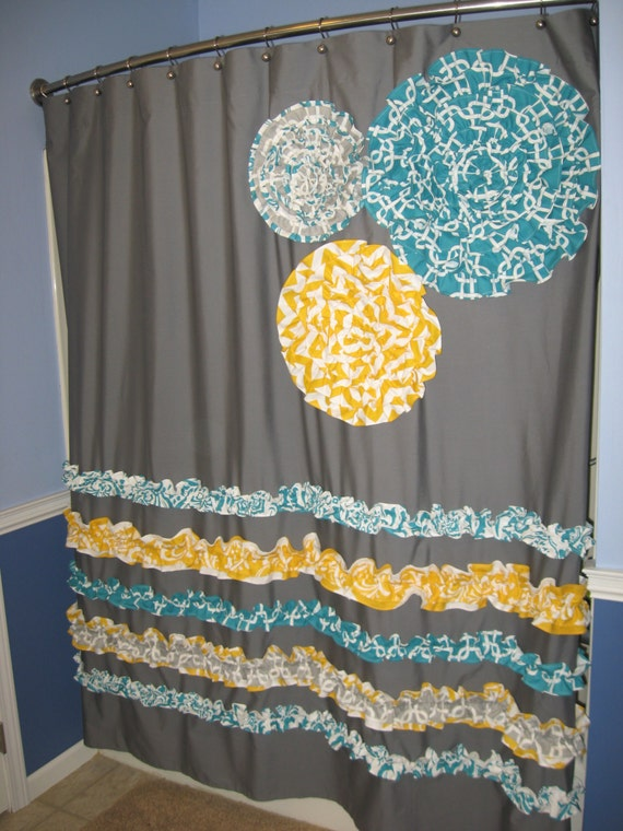 teal and yellow shower curtain. Items similar to Shower Curtain Custom Made Ruffles and Flowers Designer  Fabric Gray White Teal Aqua Turquoise Yellow Chevron Zig Zag Damask Grey on