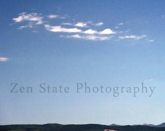 Blue Sky Photography Print. Landscape Photo Print. Skyline Photography Print. Photo Print, Framed Print, or Canvas Print. Home Decor.