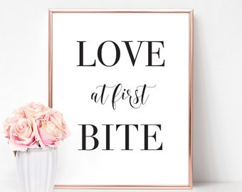 Love At First Bite Sign | Wedding Sign, Love At First Bite, Love At First, Dessert Table Sign, Dessert Sign, Sweets Table, Cupcake Table