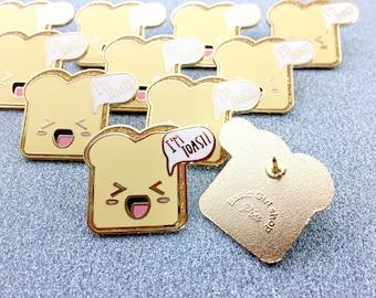 "Kawaii ""I'm Toast"" Toast Glitter Hard Enamel Pin"