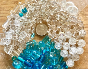 Caribbean Blue and Clear Glass Bead Soup Inspiration