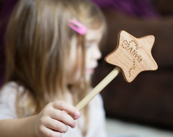 wooden MAGIC WAND - an all natural, woodland fairy imagination toy, waldorf-inspired free play for boy or girl, homegrown organic finish
