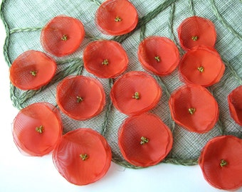 Fabric flowers for crafts, handmade organza sew on flower appliques, flower embellisments, floral supplies (15pcs)- FLAME ORANGE POPPIES