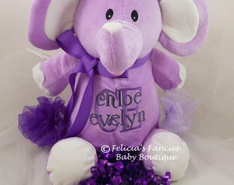 Personalized Elephant Stuffed Animal, Personalized Baby Cubbie Stuffie Gift with Name from Felicia's Fancies Baby Boutique