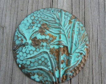 One Hand Patina Brass Large Garden Charm