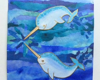 Narwhal Painting (narwhal art - narwhal gift - collage art - animal art - watercolor art - ocean art - ocean painting - home gallery)