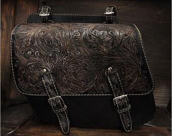 Leather Saddle Bag Black K19A13/ sb3564