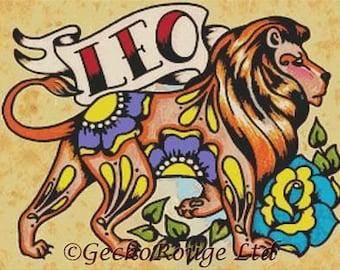 Cross Stitch Kit, Zodiac Cross Stitch, Leo Sign, Tattoo Cross Stitch Kit, Illustrated Ink Art, Illustrated Ink, Lion Cross Stitch, Big Cat