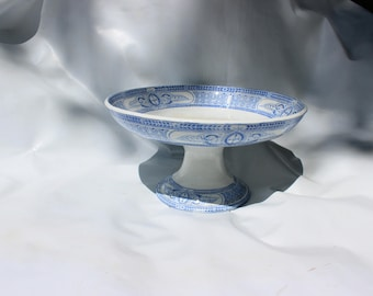 Fruit dish on a pedestal compotier French antique blue and white 1900s shabby chic