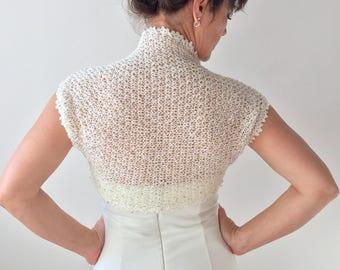 Gold sequin bolero, cream wedding shrug, sleeveless bolero, bridal bolero shrug, knitted lacy bolero, gift for her, XS-XXL, fast shipping