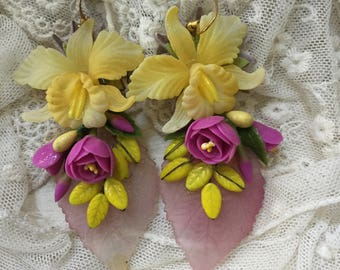 Ooak handmade statement fairy   earrings orchid dream