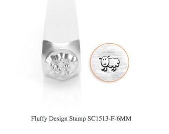 Fluffy Design Stamp, Sheep Stamps, Lamb, SC1513-F-6MM, Animal Metal Stamps, Carbon Steel Stamp, ImpressArt Stamp, Animals and Nature Stamps