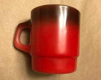 Red- Brown Fire King Mug
