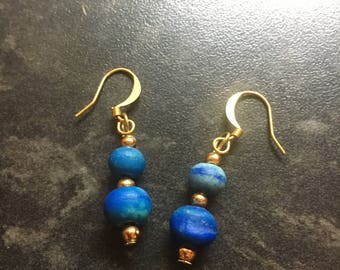 Blue planet effect unique handmade earrings gold and blue beads