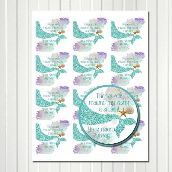 Wedding Favor Ideas Mermaid: Mermaid Stickers Under The Sea Sticker Tag Thank You