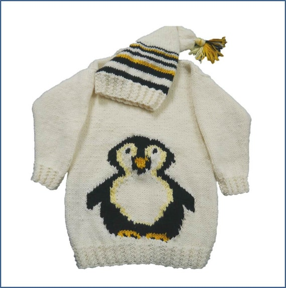 Penguin Childs Sweater And Hat Aran Knitting Pattern