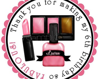 Personalized Stickers, Littlebeane Makeup , Lipstick, Eyeshadow, Nail polish, Spa Labels, Tags, Seals, Favor Stickers, set of 12