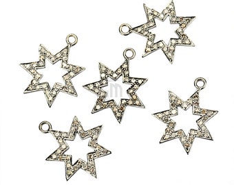 Star Shape Diamond Charms Pendant, 19x16mm 925 Sterling Silver Pave Charms Pendant 1pc GemMartUSA(NDCH-40013)