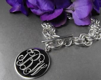 Double Link Monogrammed Sterling Silver Bracelet, Modern Round Personalized Bracelet Mother's Gift