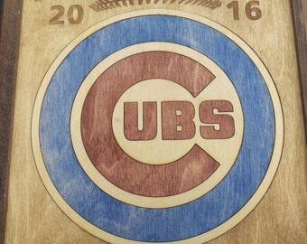 Chicago Cubs World Series Champions -- 11x14 Solid Wood Inlay