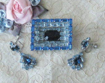 Lovely Vintage Blue Rhinestone Brooch with Coordinating Earrings
