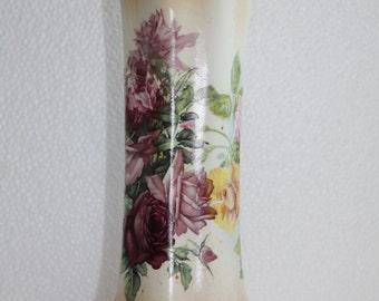 Vintage porcelain vase flower rose drawings Free Worldwide shipping