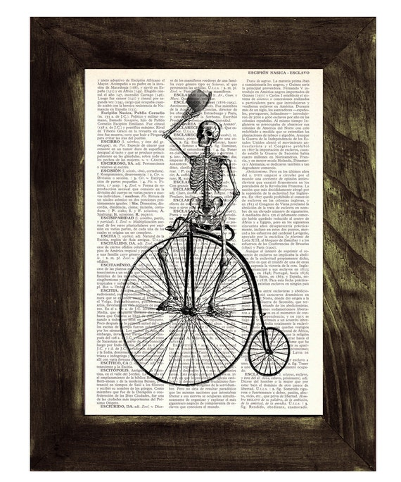 BOGO Sale Dictionary print  Antique Bicycle riding Skeleton Print on Vintage Book page SKA014