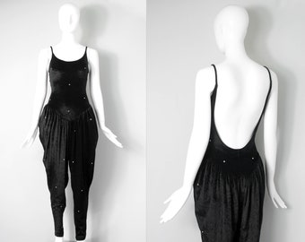 1980s betsey johnson jumpsuit / 80s punk label velvet pantsuit | rhinestone studded (size medium large m l)