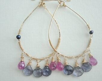 Iolite earrings, Sapphire earrings, chandelier earrings, drop earrings, Gemstone earring, 14K gold filled, boho jewellery, ethnic earrings