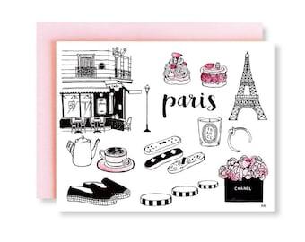 Paris Card / Paris Theme Party / Card for Her / Paris Illustration Card / Cute Pink Card / Paris Fashion illustration/ Eiffel Tower Card