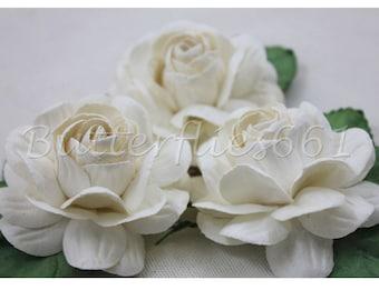 3 Big White  Roses Handmade Mulberry Paper Flowers Wedding  Bp-15