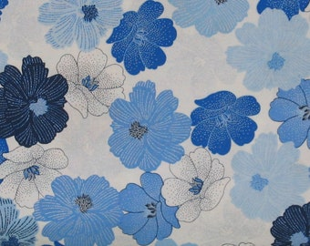 Blue, Navy and White Floral on White 100% Cotton Quilt Fabric, Packed Shimmer Flower by Greta Lynn for Kanvas Studio, KAS8811P-09
