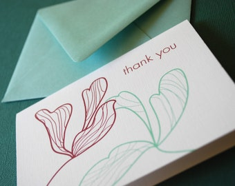 Blooms- Thank You set of 6, modern note cards, blank