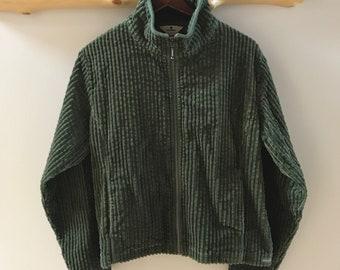 Olive green Woolrich wide wale corduroy zip jacket, L