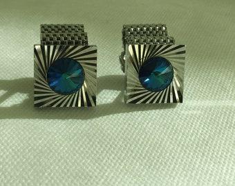 Vintage Silver AB Cobalt Blue Crystal Cufflinks