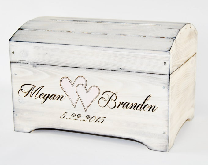 Large Personalized Card Box in Shabby Chic Whitewash Finish- Personalized card box
