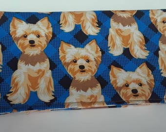 Yorkie Dog Fabric  Checkbook Cover Coupon Holder Clutch Purse Billfold Ready-Made