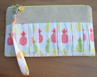 Pineapple Ruffled Wristlet/Clutch