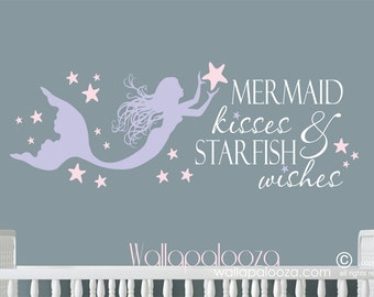 Mermaid kisses and starfish wishes wall decal - mermaid wall decal - beach wall decal - starfish decal