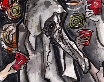 Plague Mask Costume Party - Original Watercolor and Ink Painting by Jen Tracy - No Sleep Podcast Cover - Spooky Illustration in Ink