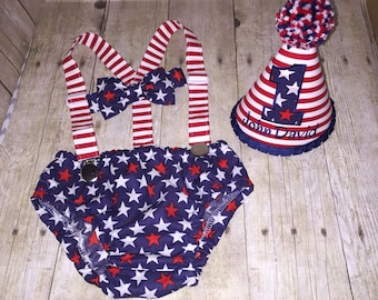 Boys Cake Smash Outfit - Patriotic Fourth of July - Red White and Blue - Stars and Stripes - Diaper Cover, Bow Tie & Birthday Hat -  First 1