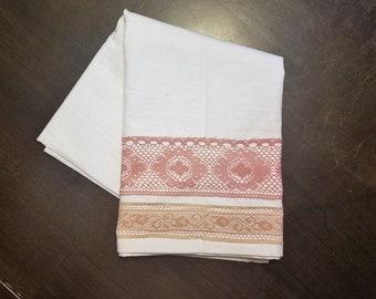 """100% Cotton Flour Sack Tea Towel with Vintage Lace Trim, 16""""x38"""""""
