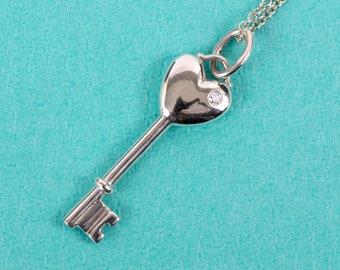 Tiffany & Co. Diamond Heart Key Pendant and Elsa Peretti Chain Necklace // 925 Sterling Silver