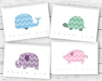 Chevron Animals Baby Thank You Cards Collection - 24 Cards & Envelopes