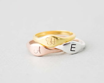 Initial Ring • Personalized Ring (or blank) • Stacking Ring • Custom Signet • Custom Name Sterling Silver Ring • MOTHERS DAY GIFT • RM34F51