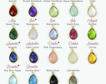 Add on Birthstone Bezel Teardrop charm to any necklace or bracelet, gemstone charm, small birthstone pendant