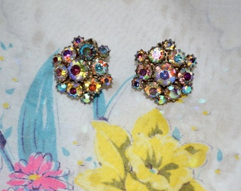 SALE - Vintage Aurora Borealis Rainbow Crystal Rhinestone Clip Earrings
