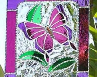 Stained Glass Sun Catcher, Glass Butterfly Suncatcher, Decorative Glass Sun-Catcher, Gift Idea, Glass Window Decor, Butterfly Decor- 9563-MM