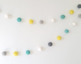 Aqua Yellow Grey White Bunting,  Aqua Yellow Grey Nursery, Pom Pom Garland, Boy Room Decor, Pom Flowers,