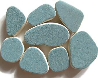 8 Pcs Blue Beach Pottery | Genuine Sea Pottery | Authentic Beach Pottery | Blue Ceramic Tile | Mosaic Tile | Surf Tumbled Tile | Blue Tile